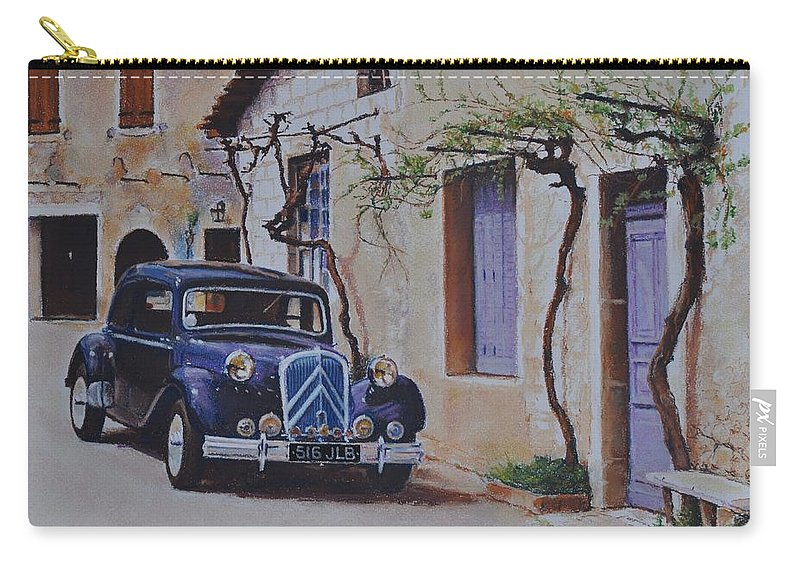 Classic Cars Carry-all Pouch featuring the pastel 1951's Citroen by Iliyan Bozhanov