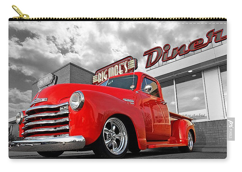 Chevrolet Truck Carry-all Pouch featuring the photograph 1952 Chevrolet Truck At The Diner by Gill Billington
