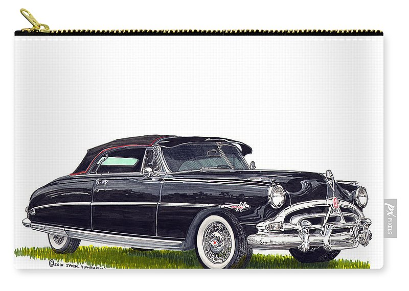 Framed Prints Of Great American Classic Cars Framed Canvas Prrnts Of Hudson Hornets Carry-all Pouch featuring the painting 1952 Hudson Hornet Convertible by Jack Pumphrey