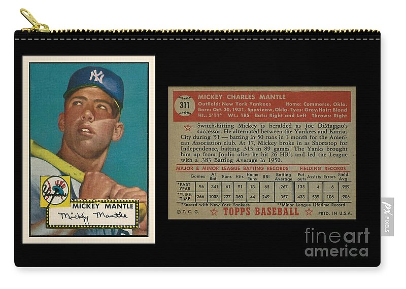 1952 Topps Mickey Mantle Rookie Card Carry All Pouch