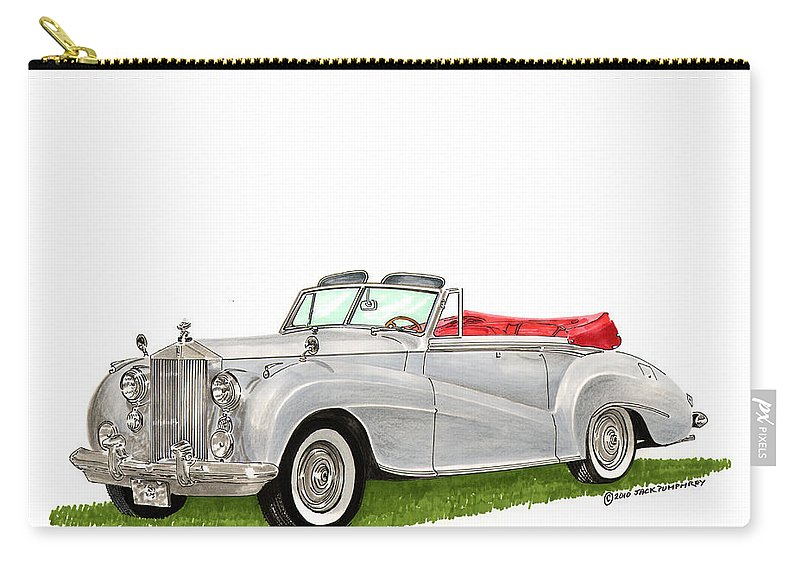 Classic Cars Of Europe Carry-all Pouch featuring the painting Rolls Royce Silver Dawn 1953 by Jack Pumphrey