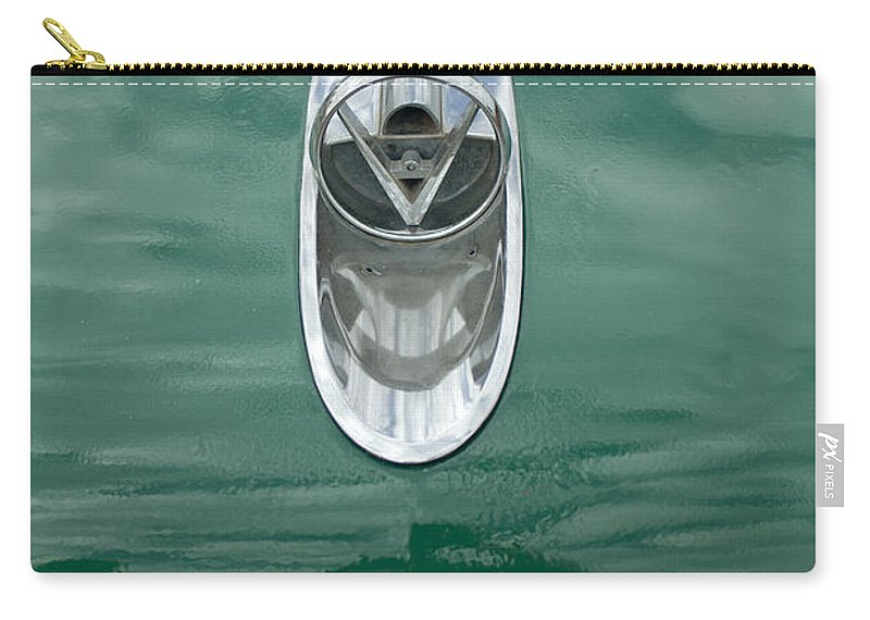1954 Buick Carry-all Pouch featuring the photograph 1954 Buick Hood Ornament 2 by Jill Reger
