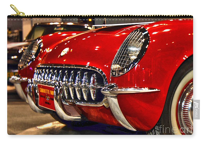 Auto Carry-all Pouch featuring the photograph 1954 Chevrolet Corvette Number 3 by Alan Look