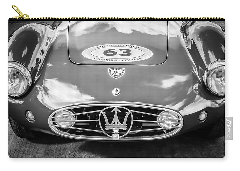 1954 Maserati A6 Gcs Carry-all Pouch featuring the photograph 1954 Maserati A6 Gcs -0255bw by Jill Reger