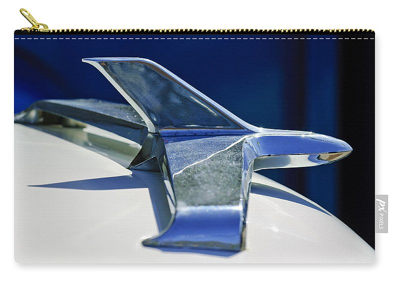 1955 Chevrolet 3100 Carry-all Pouch featuring the photograph 1955 Chevrolet 3100 Hood Ornament 2 by Jill Reger