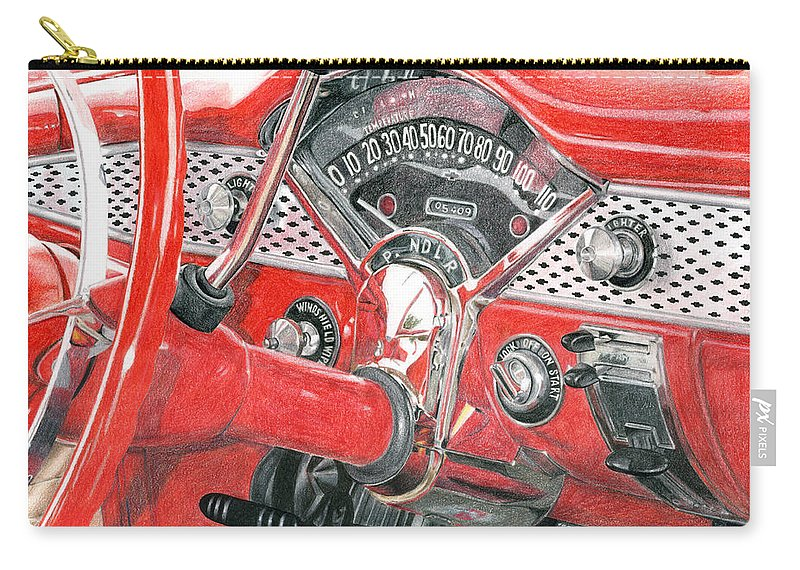 Classic Carry-all Pouch featuring the drawing 1955 Chevrolet Bel Air by Rob De Vries
