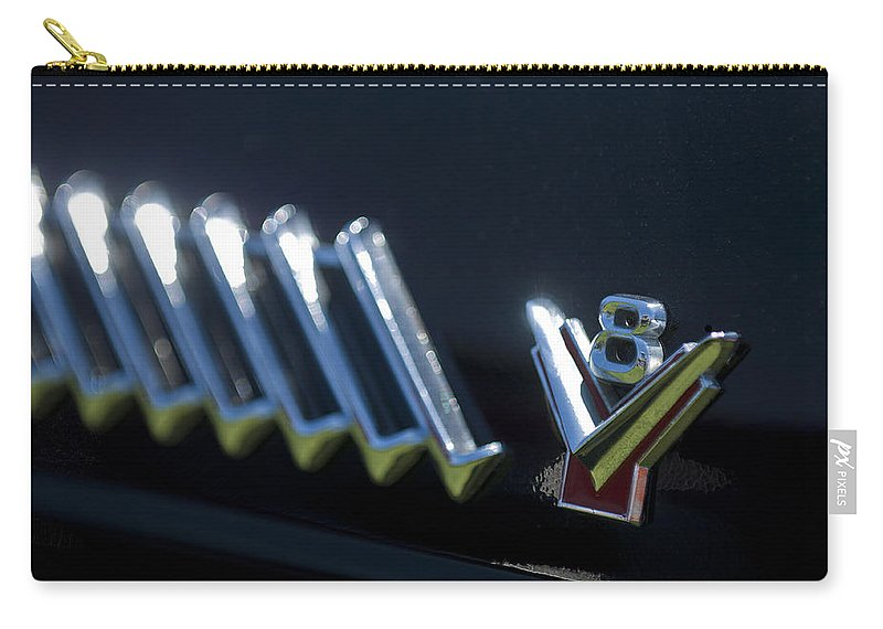 1955 Ford Thunderbird Carry-all Pouch featuring the photograph 1955 Ford Thunderbird Emblem by Jill Reger