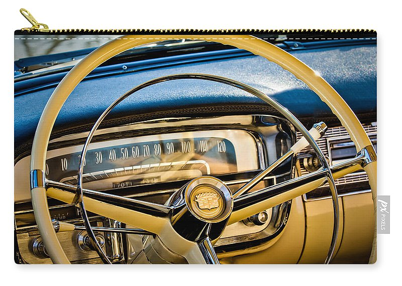1956 Cadillac Steering Wheel Carry-all Pouch featuring the photograph 1956 Cadillac Steering Wheel by Jill Reger