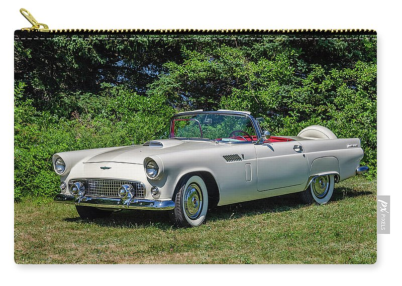 1956 Carry-all Pouch featuring the digital art 1956 Ford Thunderbird by Ken Morris