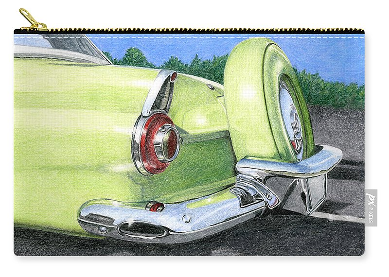 Classic Carry-all Pouch featuring the drawing 1956 Ford Thunderbird by Rob De Vries