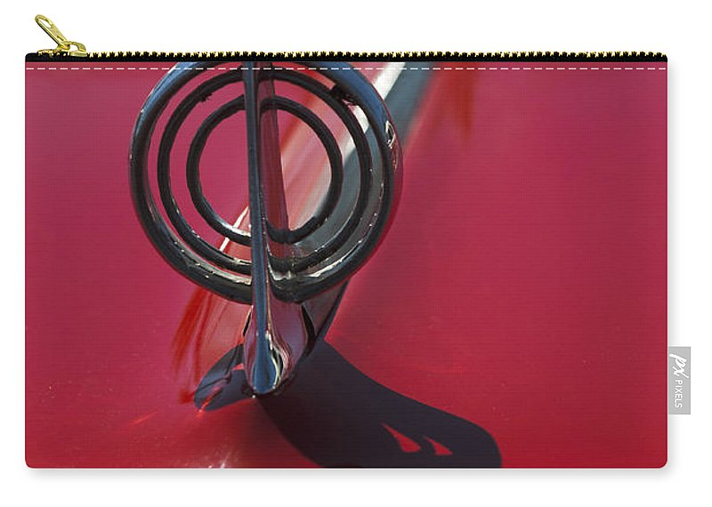 1957 Buick Carry-all Pouch featuring the photograph 1957 Buick Hood Ornament by Jill Reger