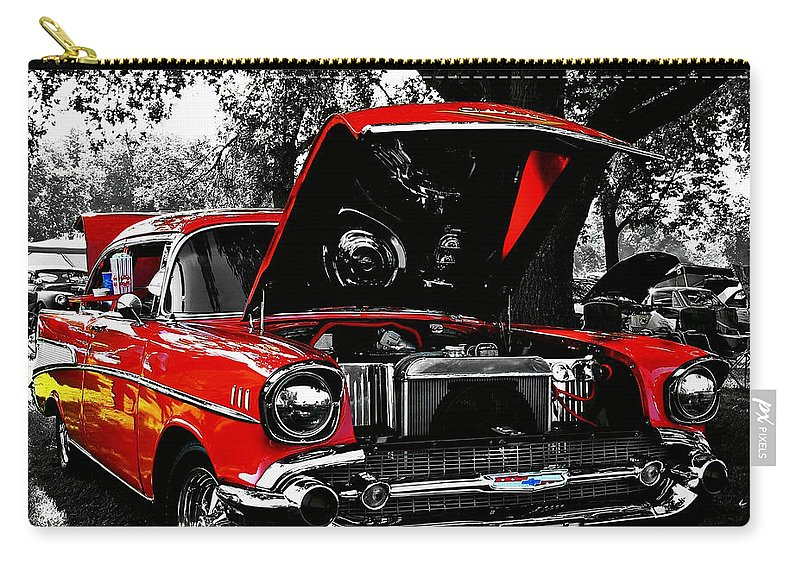 1957 Carry-all Pouch featuring the photograph 1957 Chevy Bel Air by Chris Berry