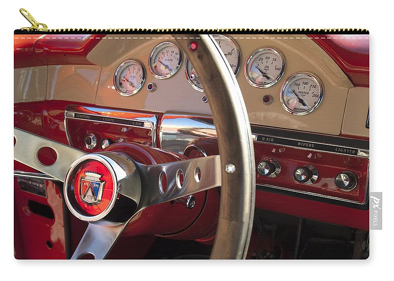 1957 Ford Fairlane Carry-all Pouch featuring the photograph 1957 Ford Fairlane Steering Wheel by Jill Reger