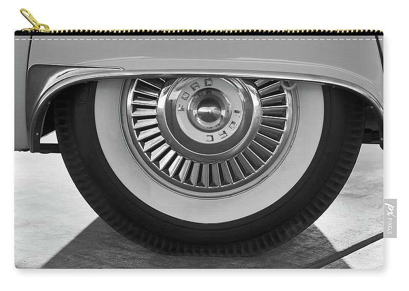 1957 Ford Thunderbird Carry-all Pouch featuring the photograph 1957 Ford Thunderbird Wheel 3 by Jill Reger
