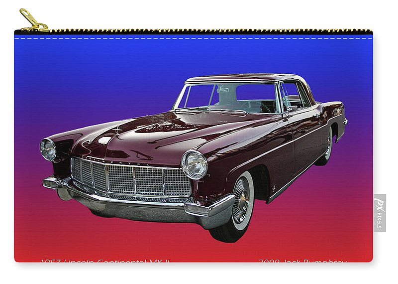 An Enhanced Photograph Of The Greatest Looking Car Of All Time Carry-all Pouch featuring the photograph 1957 Lincoln M K I I by Jack Pumphrey