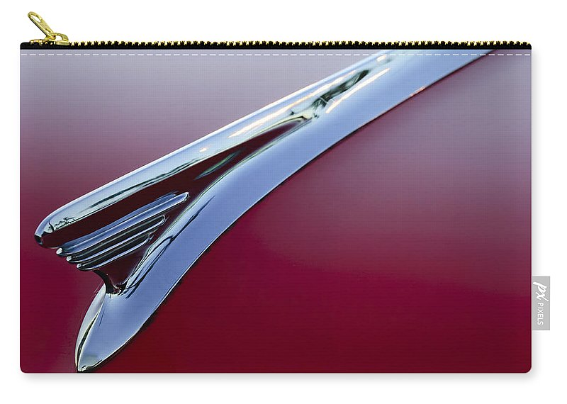 1957 Oldsmobile Carry-all Pouch featuring the photograph 1957 Oldsmobile Hood Ornament 2 by Jill Reger