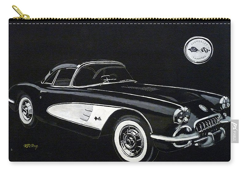 Cars Carry-all Pouch featuring the painting 1958 Chev Corvette by Richard Le Page