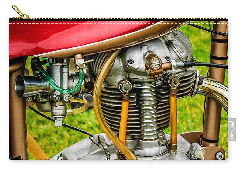 1958 Ducati 175 F3 Race Motorcycle Carry-all Pouch featuring the photograph 1958 Ducati 175 F3 Race Motorcycle -2119c by Jill Reger