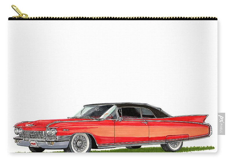 Framed Prints Of Cadillacs. Framed Canvas Prints Of Cadillac Fine Art. Famed Art Of Cadillac Hard Top Convertibles. Framed Art Of Great American Classic Cadillacs. Carry-all Pouch featuring the painting 1960 Cadillac El Dorado Biarritz by Jack Pumphrey