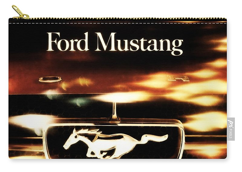 1964 Carry-all Pouch featuring the photograph 1964 Ford Mustang by R Muirhead Art