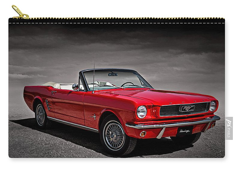 1966 Carry-all Pouch featuring the digital art 1966 Ford Mustang Convertible by Douglas Pittman