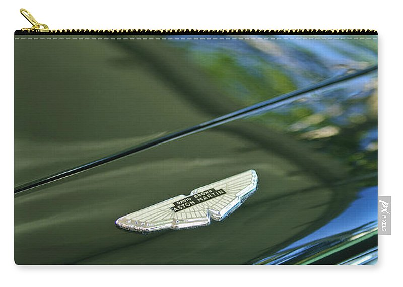 1967 Aston Martin Db6 Coupe Carry-all Pouch featuring the photograph 1967 Aston Martin Db6 Coupe Hood Emblem by Jill Reger
