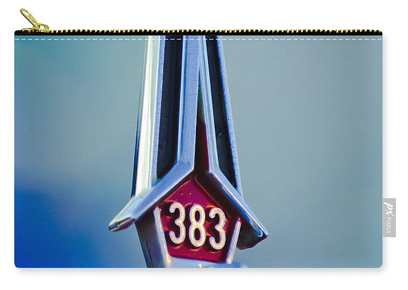 1967 Plymouth Saturn Carry-all Pouch featuring the photograph 1967 Plymouth Saturn Hood Ornament by Jill Reger