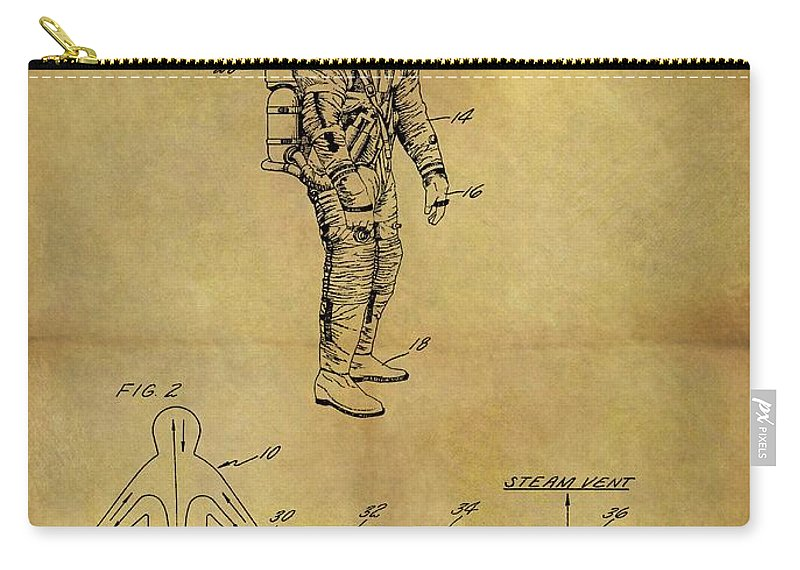 1967 Space Suit Patent Carry-all Pouch featuring the drawing 1967 Space Suit Patent by Dan Sproul