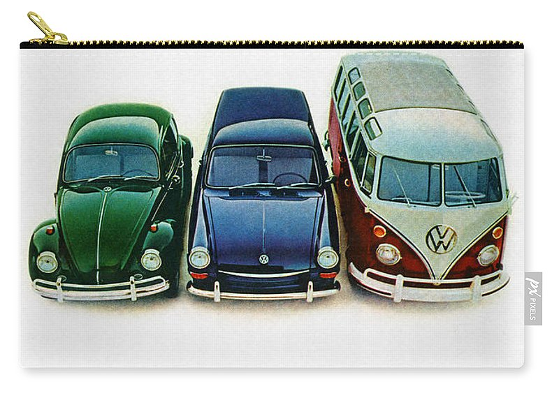 1967 Carry-all Pouch featuring the digital art 1967 Volkswagen Beetle Squareback And The Box by Digital Repro Depot