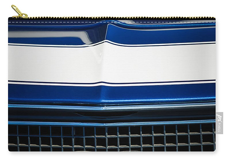 1968 Chevrolet Yenko Super Camaro Ss Grille Emblem Carry-all Pouch featuring the photograph 1968 Chevrolet Yenko Super Camaro Ss Grille Emblem -1745c by Jill Reger