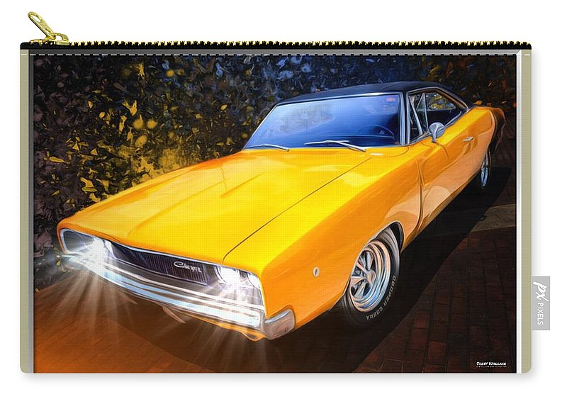 Dodge Chargers Carry-all Pouch featuring the digital art 1968 Dodge Charger Coupe by Scott Wallace Digital Designs