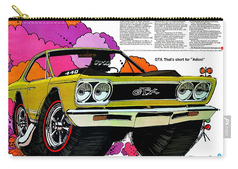 1969 Carry-all Pouch featuring the digital art 1968 Plymouth Gtx - Adios by Digital Repro Depot