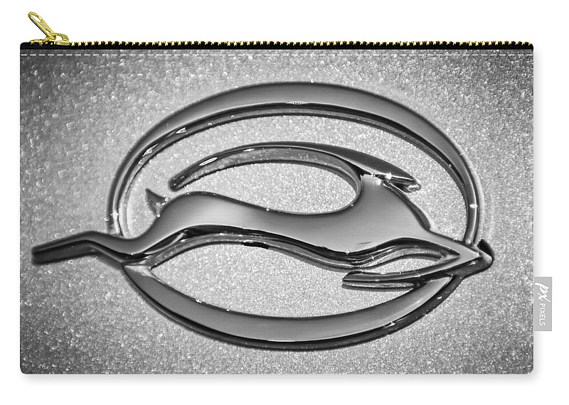 1969 Chevrolet Impala Emblem Carry-all Pouch featuring the photograph 1969 Chevrolet Impala Emblem -0462bw 1969 by Jill Reger