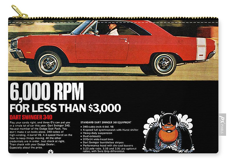 1969 Carry-all Pouch featuring the digital art 1969 Dodge Dart Swinger 340 by Digital Repro Depot