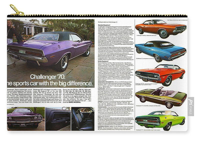 1970 Carry-all Pouch featuring the digital art 1970 Dodge Challenger by Digital Repro Depot