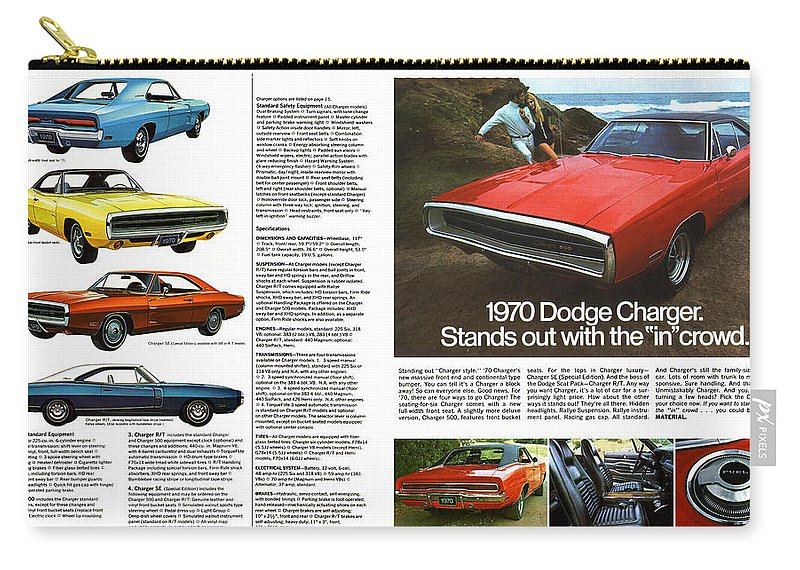 1970 Carry-all Pouch featuring the digital art 1970 Dodge Charger by Digital Repro Depot