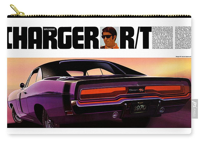 1970 Carry-all Pouch featuring the digital art 1970 Dodge Charger Rt by Digital Repro Depot