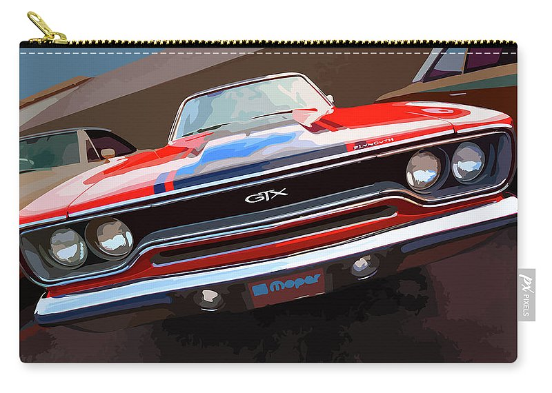 1970 Carry-all Pouch featuring the digital art 1970 Plymouth Gtx Vectorized by Gordon Dean II