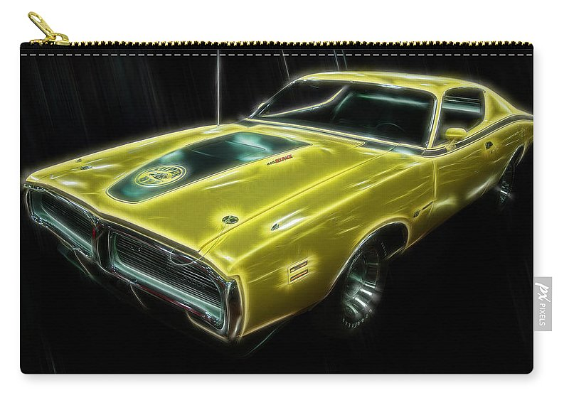 Electric Images Carry-all Pouch featuring the digital art 1971 Dodge Charger Superbee - Electric by Chris Flees