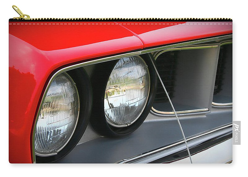 1971 Carry-all Pouch featuring the photograph 1971 Plymouth Barracuda Cuda Red by Gordon Dean II