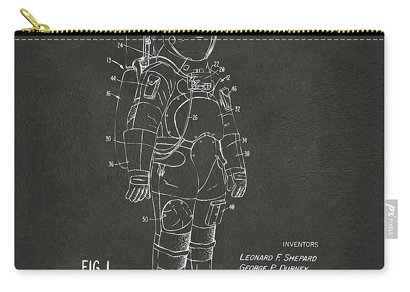 Space Suit Carry-all Pouch featuring the digital art 1973 Space Suit Patent Inventors Artwork - Gray 1973 by Nikki Marie Smith