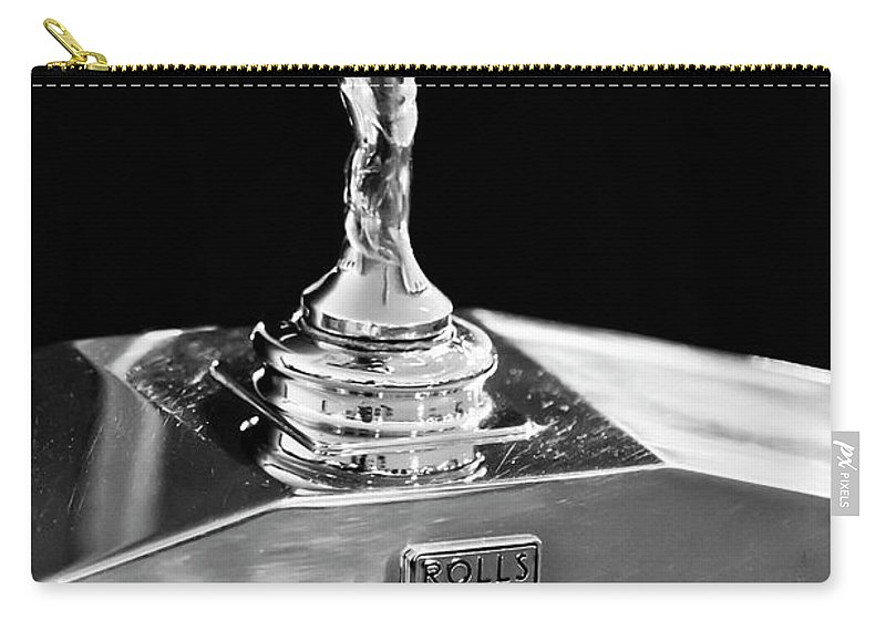 1986 Rolls-royce Carry-all Pouch featuring the photograph 1986 Rolls-royce Hood Ornament 2 by Jill Reger