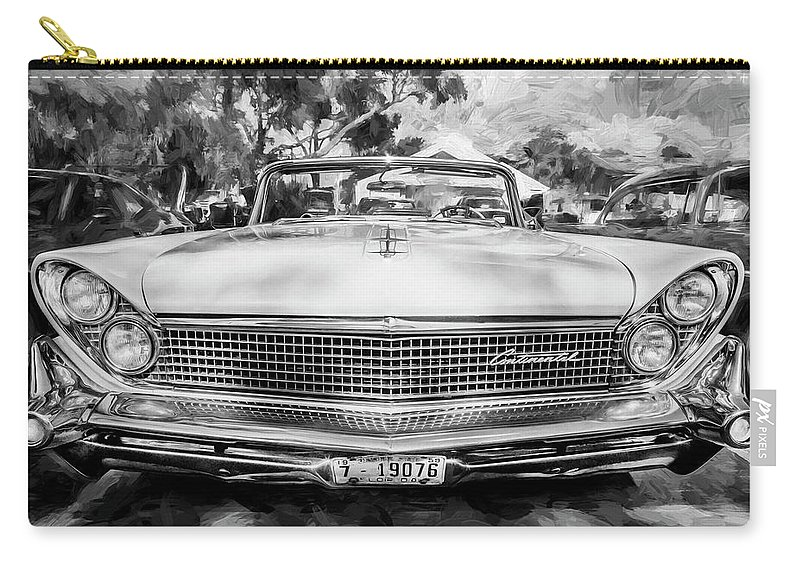 1959 Lincoln Carry-all Pouch featuring the painting 1959 Lincoln Continental Town Car Mk Iv Painted Bw  by Rich Franco