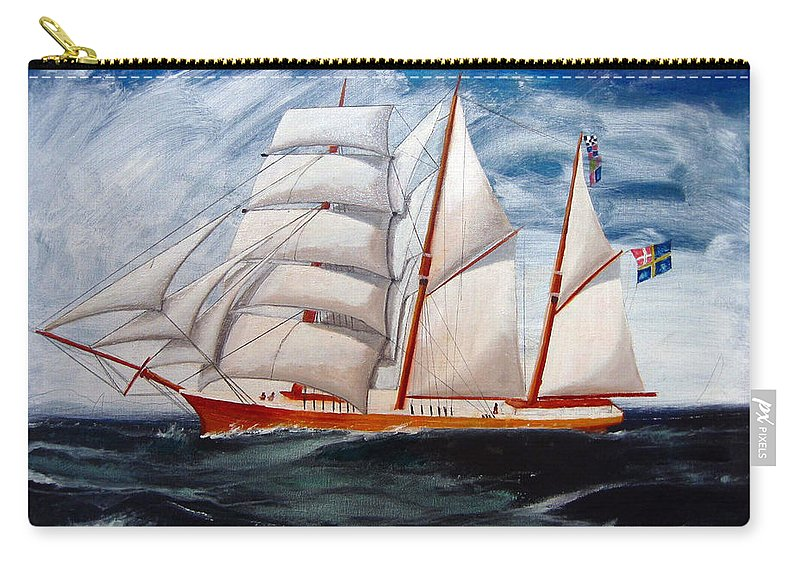 Tall Ship Carry-all Pouch featuring the painting 3 Master Tall Ship by Richard Le Page