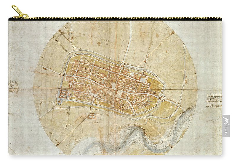 Leonardo Da Vinci (vinci 1452-amboise 1519) A Plan Of Imola 1502 Carry-all Pouch featuring the painting A Plan Of Imola by MotionAge Designs