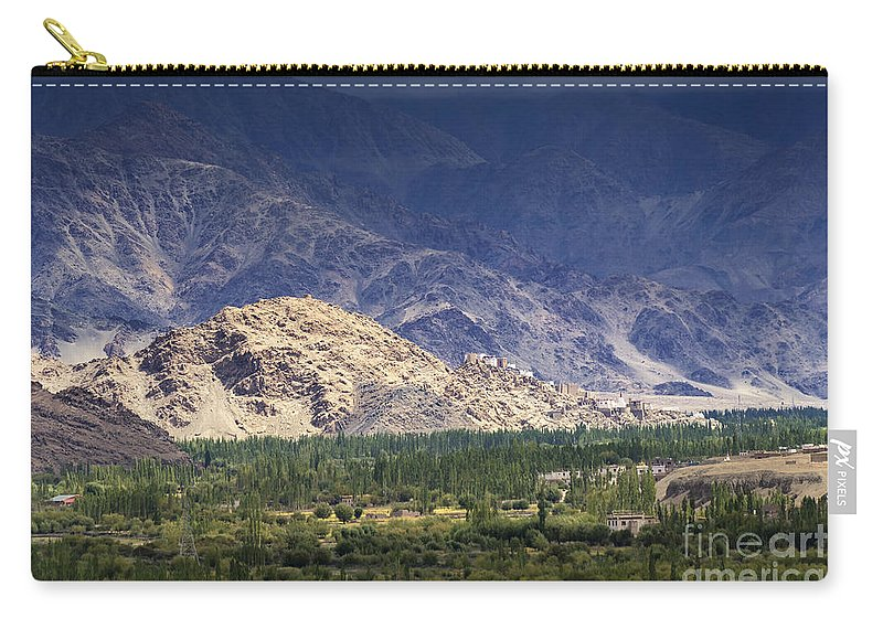 Ice Peak Carry-all Pouch featuring the photograph Aerial View Of Leh City Landscape Ladakh Jammu And Kashmir India by Rudra Narayan Mitra