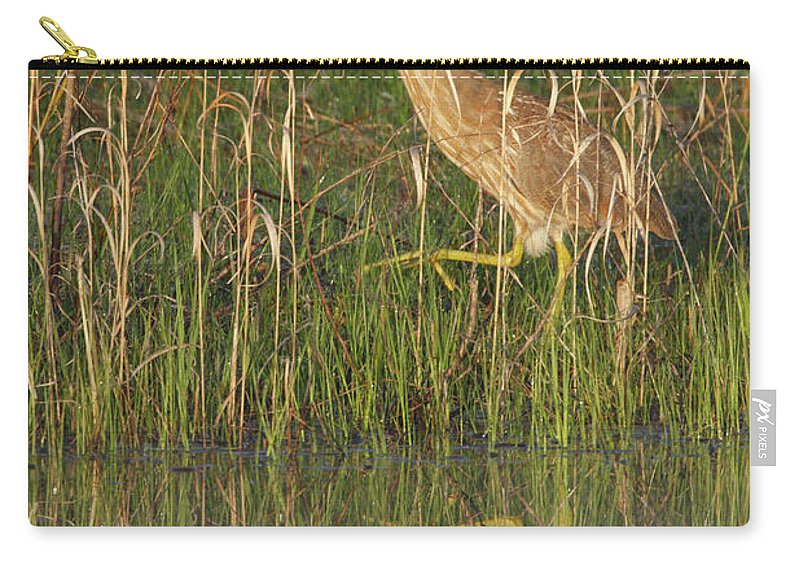 Reflection Carry-all Pouch featuring the photograph American Bittern Along The Shore by Mark Wallner