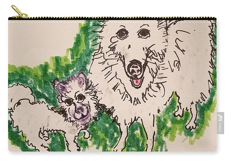 American Eskimo Dog Carry-all Pouch featuring the drawing American Eskimo Dog by Geraldine Myszenski
