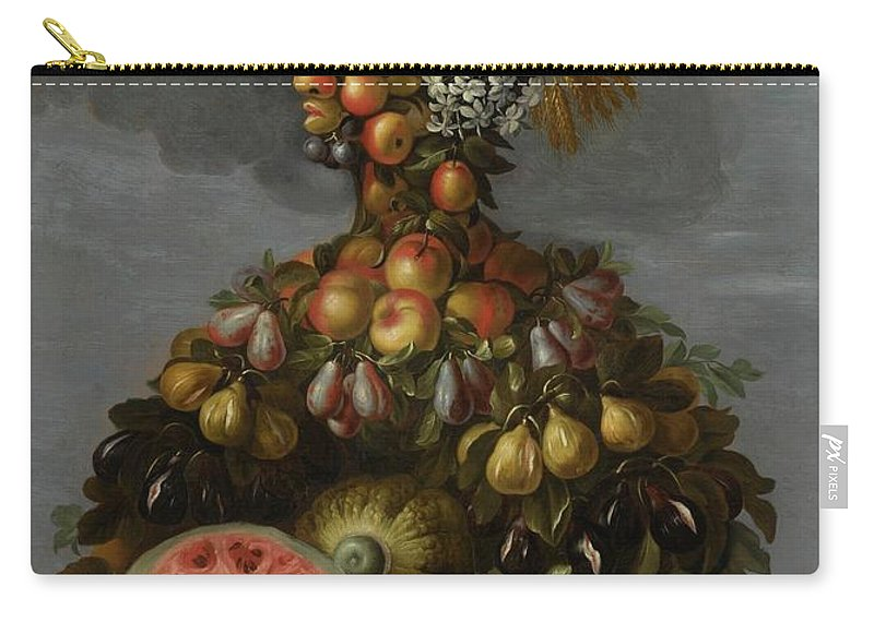Circle Of Giuseppe Arcimboldo Anthropomorphic Allegory Of Summer Carry-all Pouch featuring the painting Anthropomorphic Allegory Of Summer by MotionAge Designs