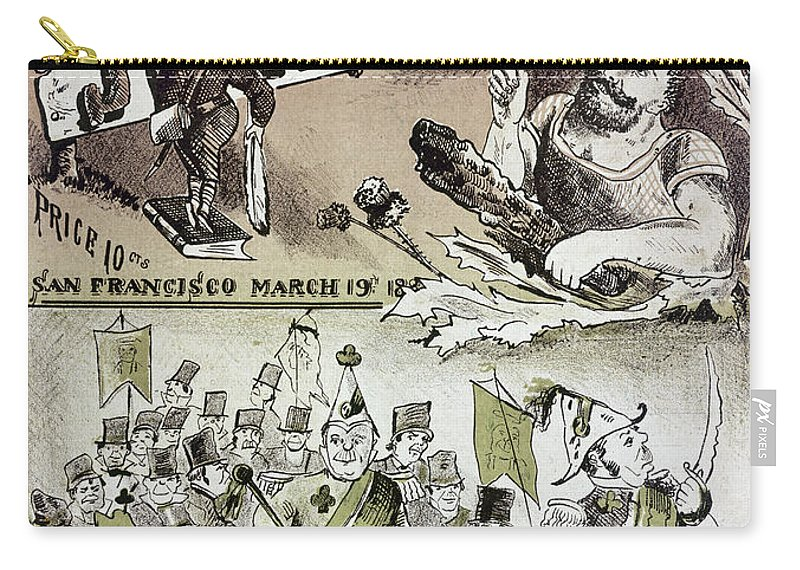 1880 Carry-all Pouch featuring the photograph Anti-immigrant Cartoon by Granger